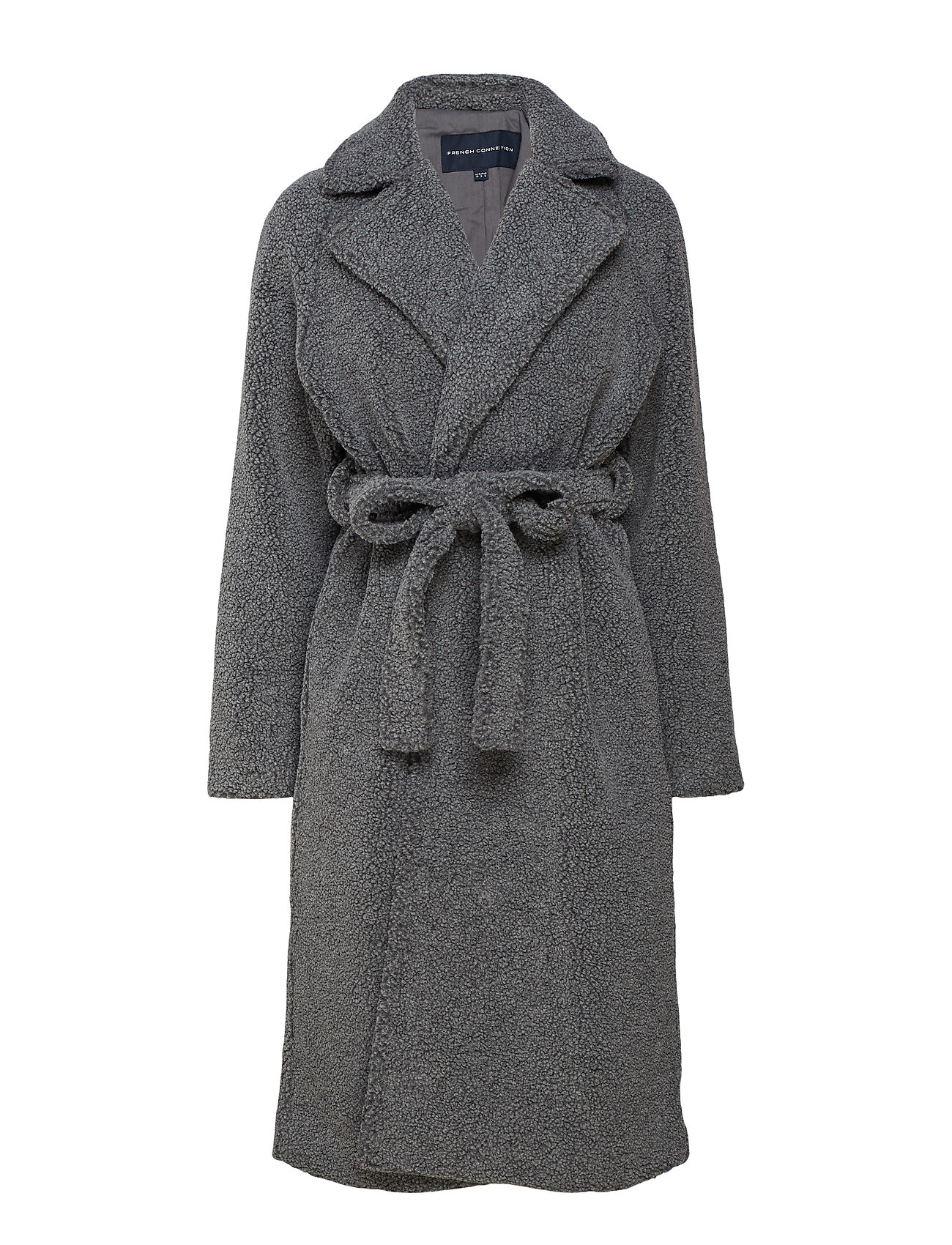 French Connection ARABELLA FAUX SHEARLING LNG CT - CHARCOAL GREY