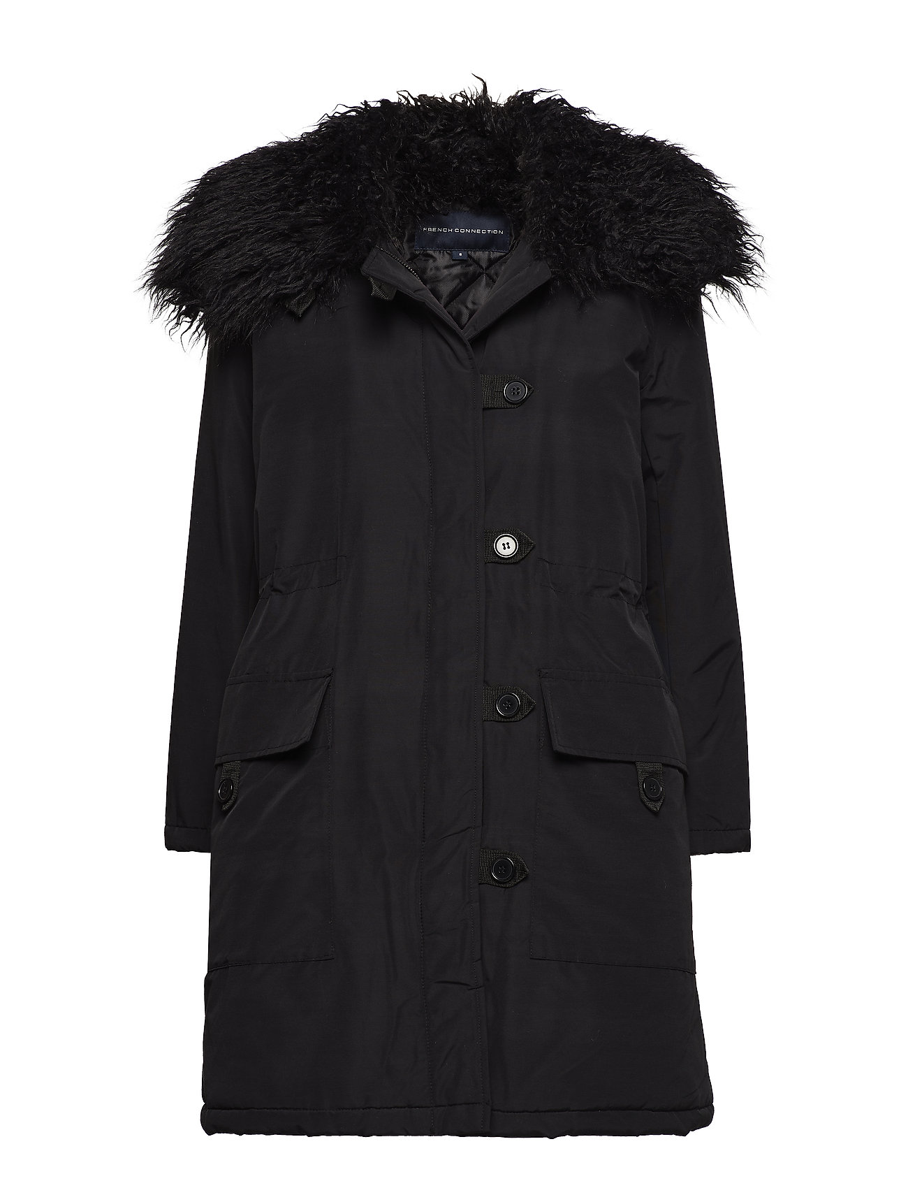 French Connection MARLOW UTILITY FUR CLLR PARKA - BLACK