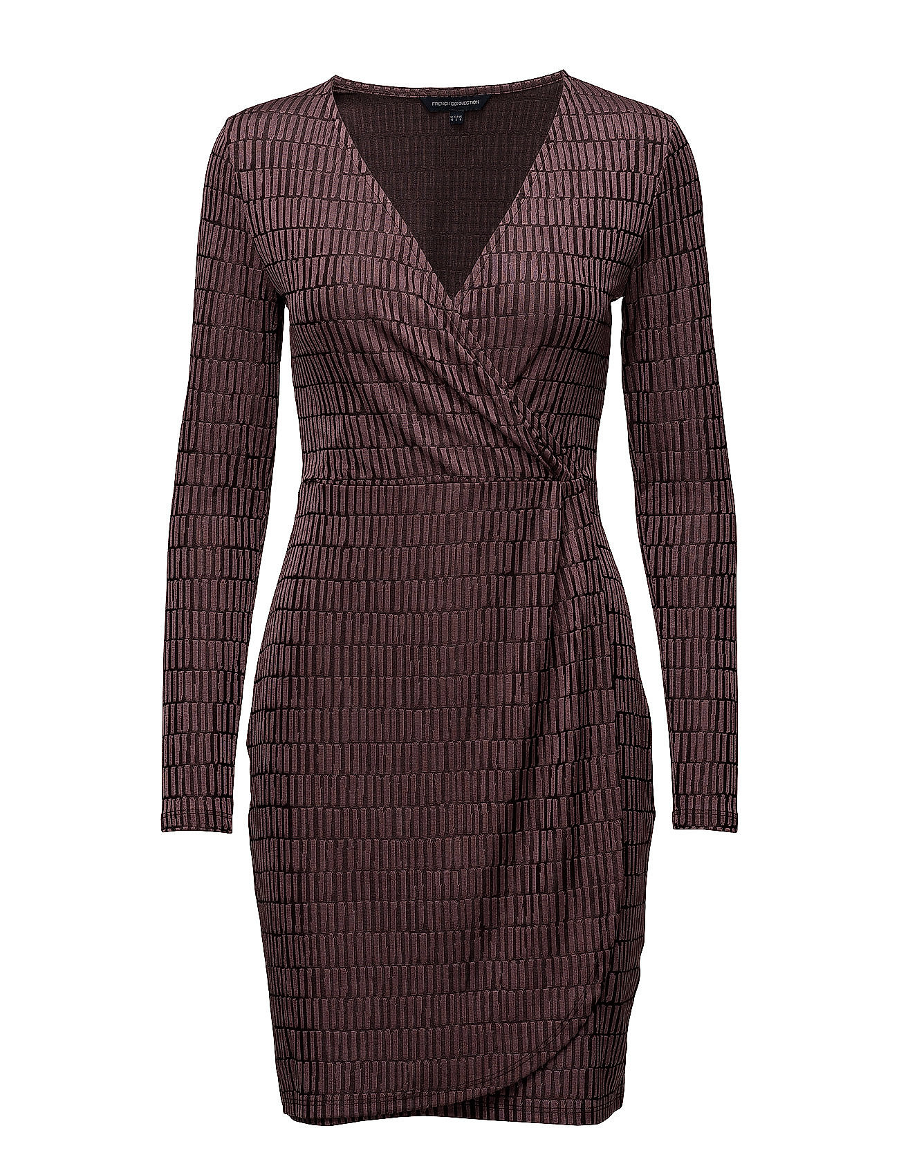 c96818ae000 Linear Jazquard Vneck Dress (Tyrian Rose) (70 €) - French Connection ...