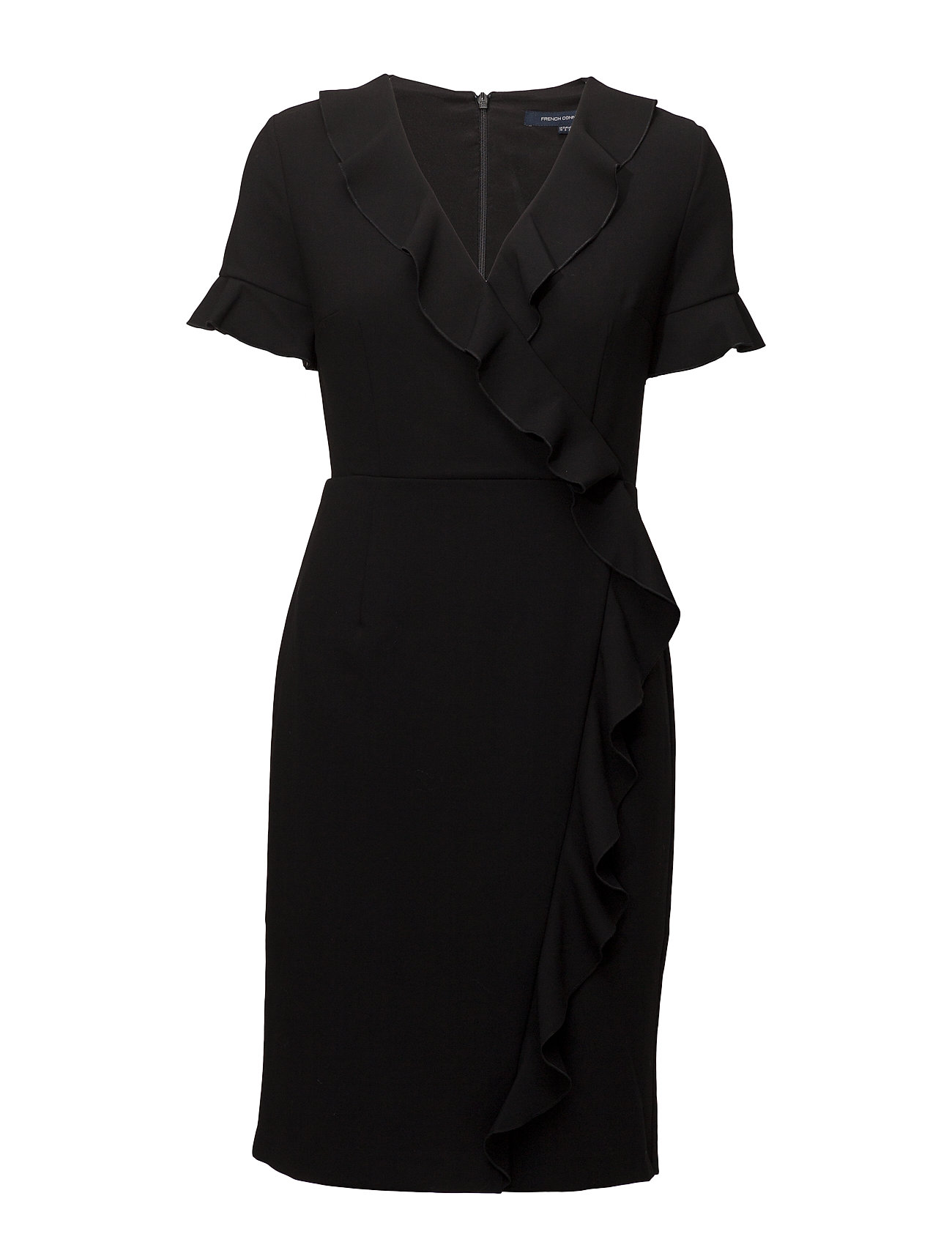 French Connection ALIANOR STRETCH VNCK FRILL DRS - BLACK