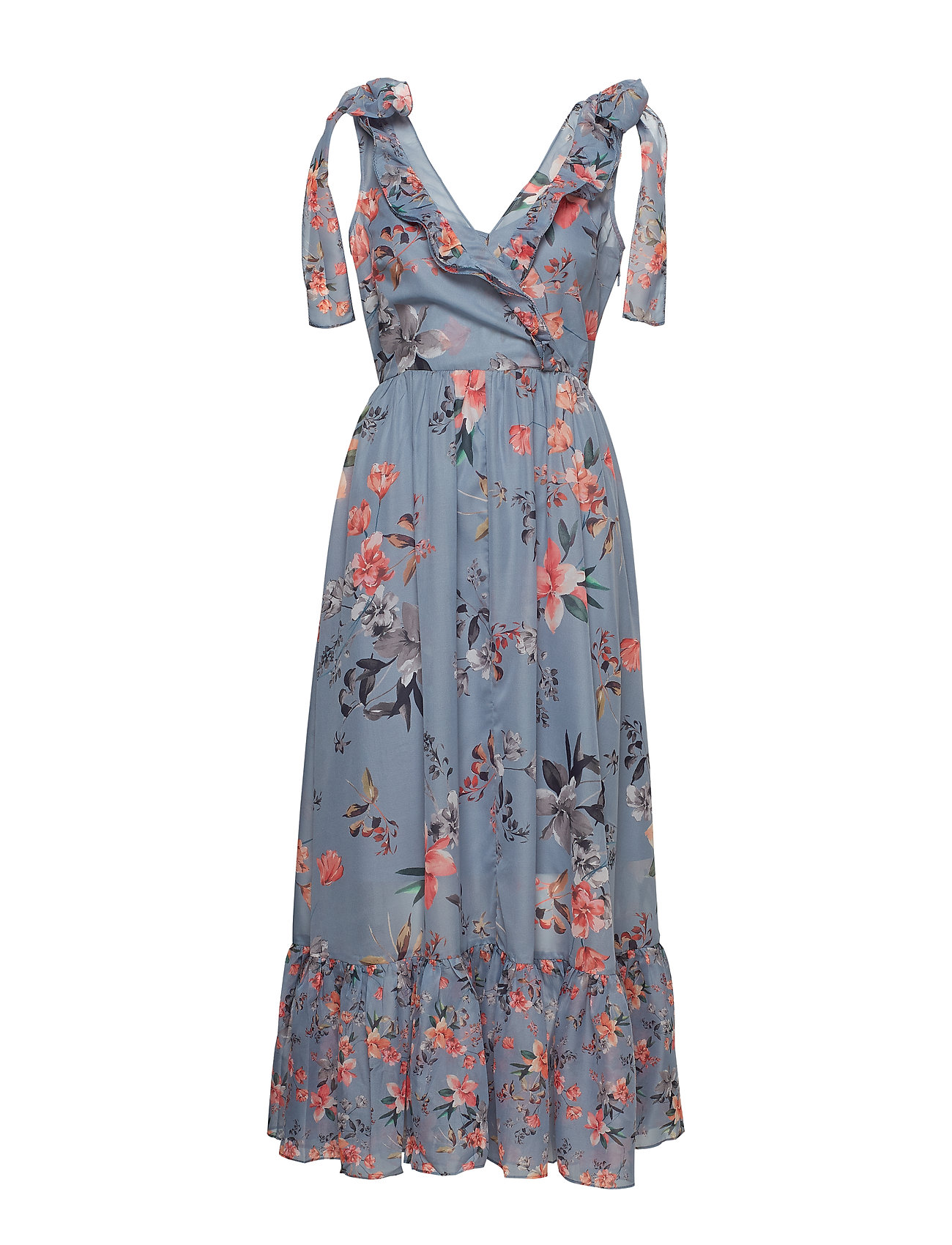 French Connection CECILE SHEER V NECK MAXI DRESS - SUMMER SURF MULTI