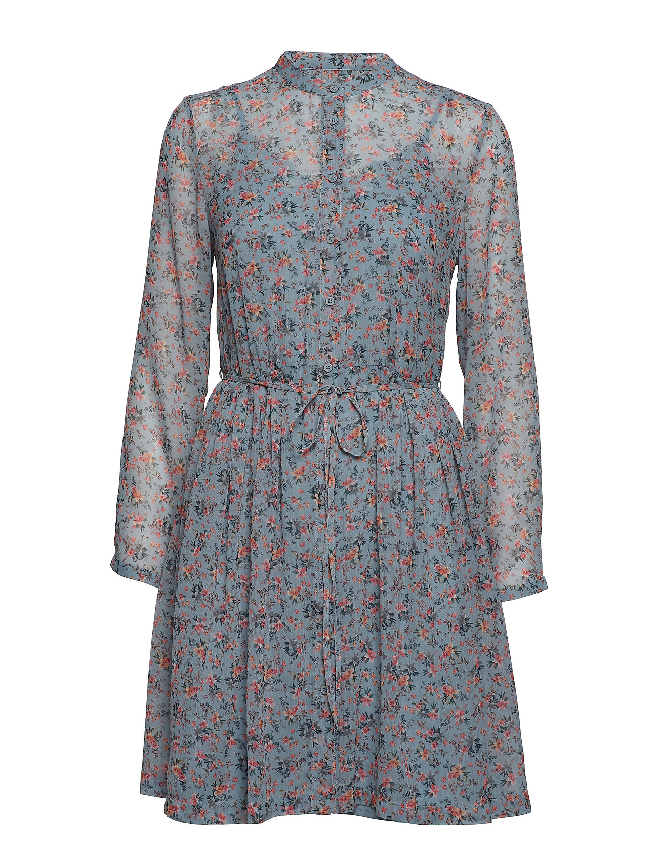 French Connection FIFINE CRINKLE PUFF SLEEVE SHIRT DRESS - SUMMER SURF MULTI