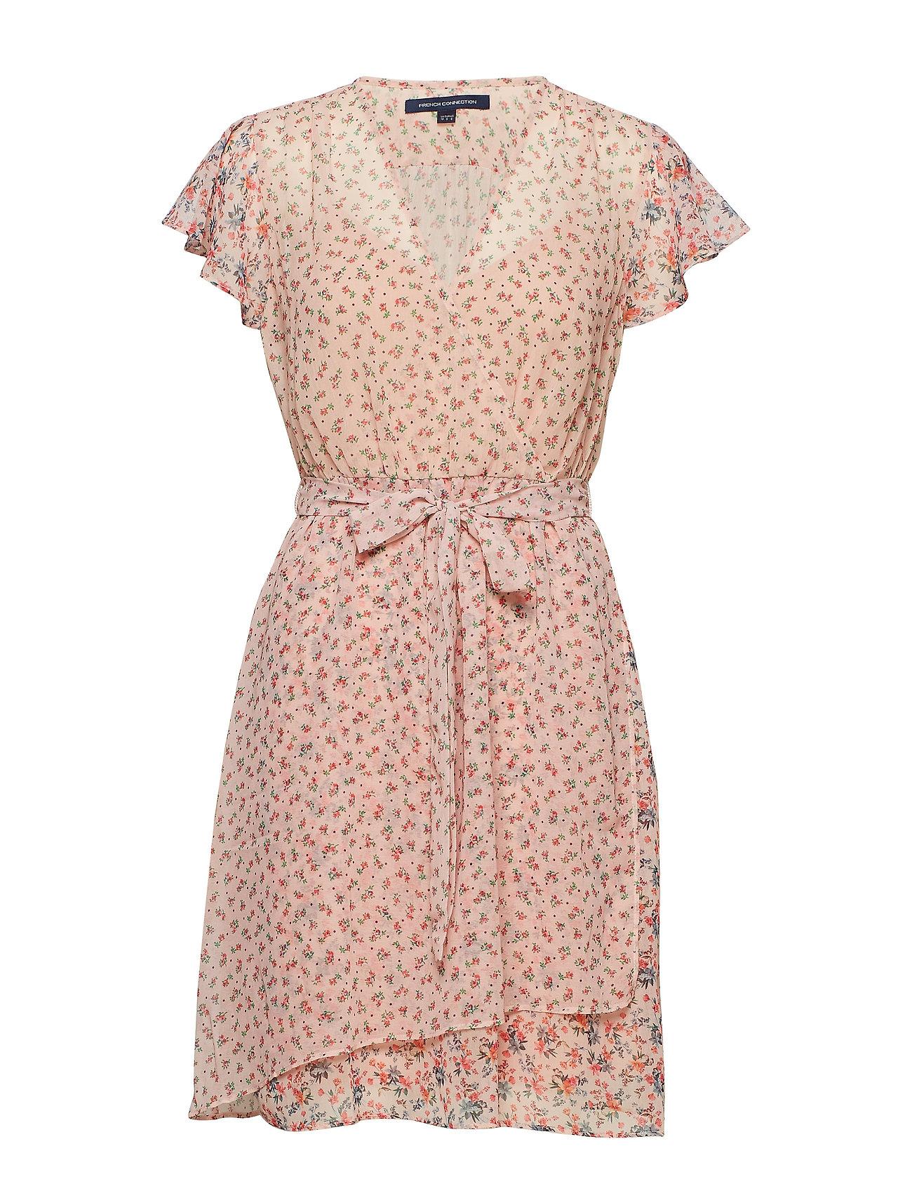 French Connection CELESTIA SHEER WRAP DRESS - SATIN SLIPPER
