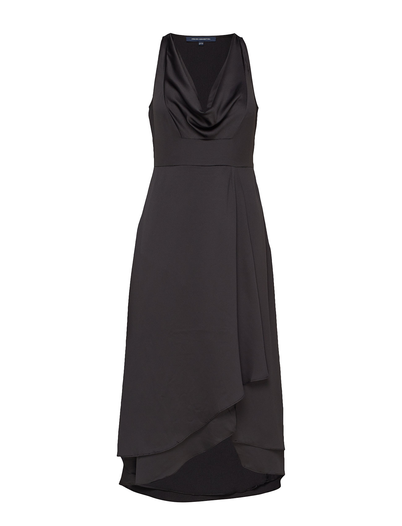 French Connection ALESSIA SATIN COWL NECK DRESS - BLACK