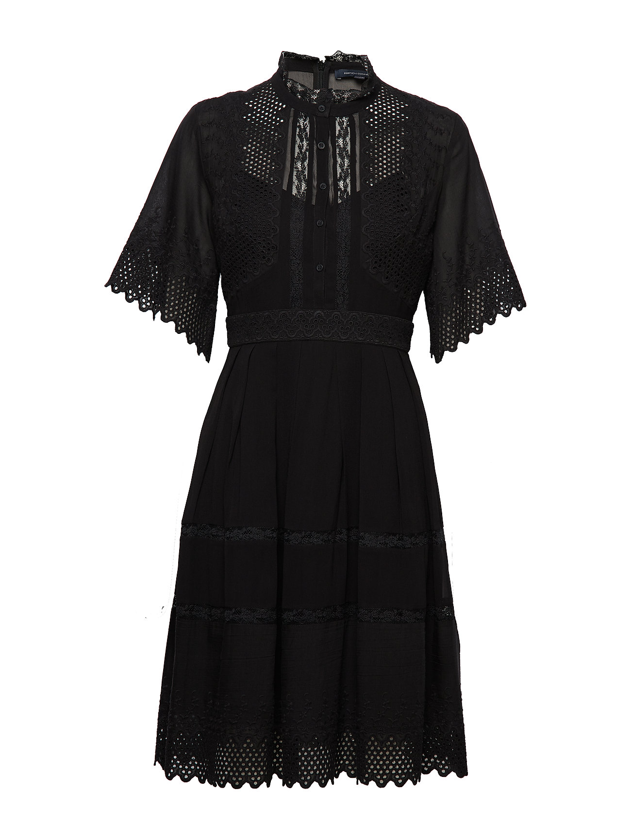 French Connection DRINA LACE SSLV DRESS - BLACK