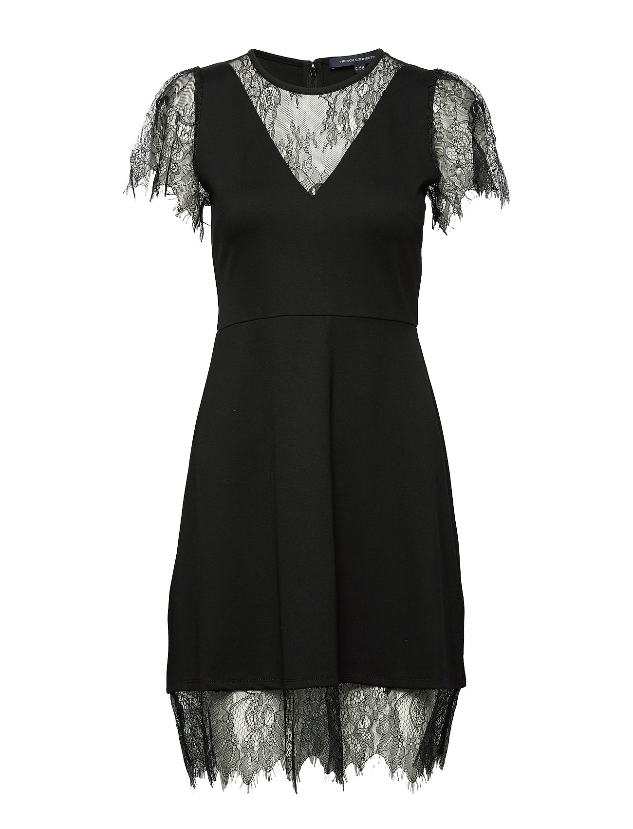 French Connection MADALYN LULA JRSY LACE MX DRES - BLACK