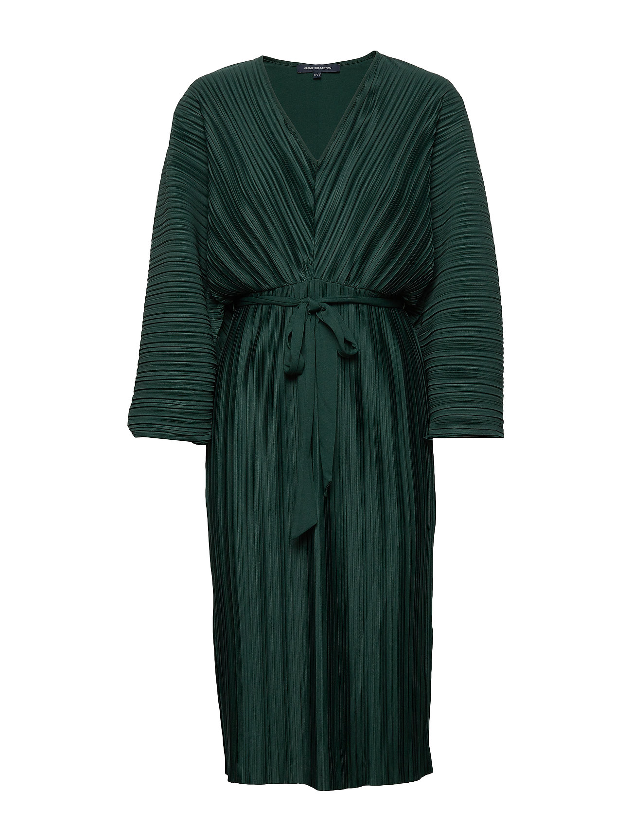 French Connection REGI PLEATED SLEEVED DRESS - DARK BAYOU GREEN