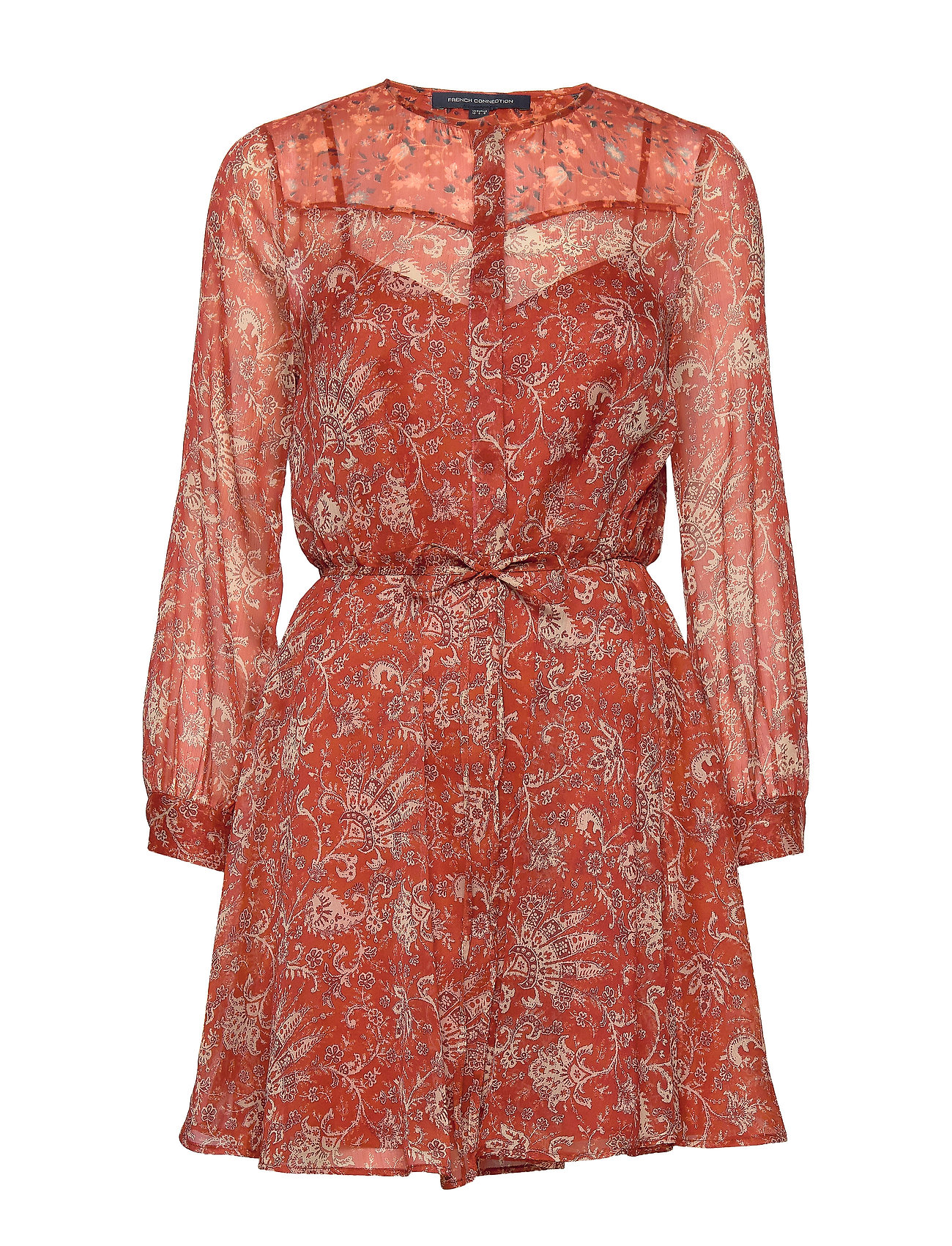 French Connection ESI CRINKLE PRINTED DRESS - RED OCHRE MULTI