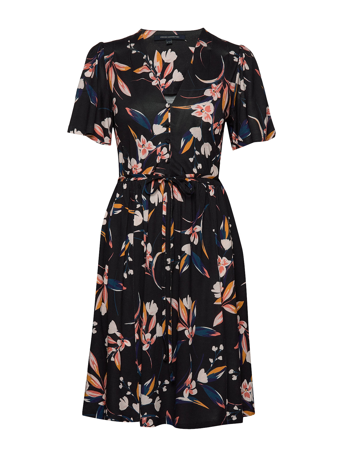 French Connection ELIVA MEADOW BELTED V NK DRESS - UTILITY BLUE MULTI