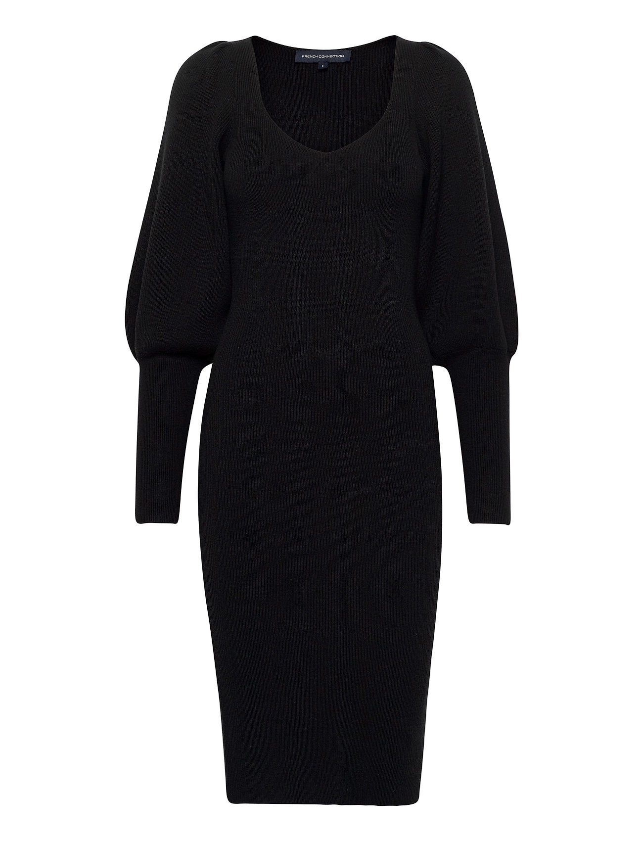 Image of Joss Knits Balloon Sleeve Dres Knælang Kjole Sort French Connection (3439674519)