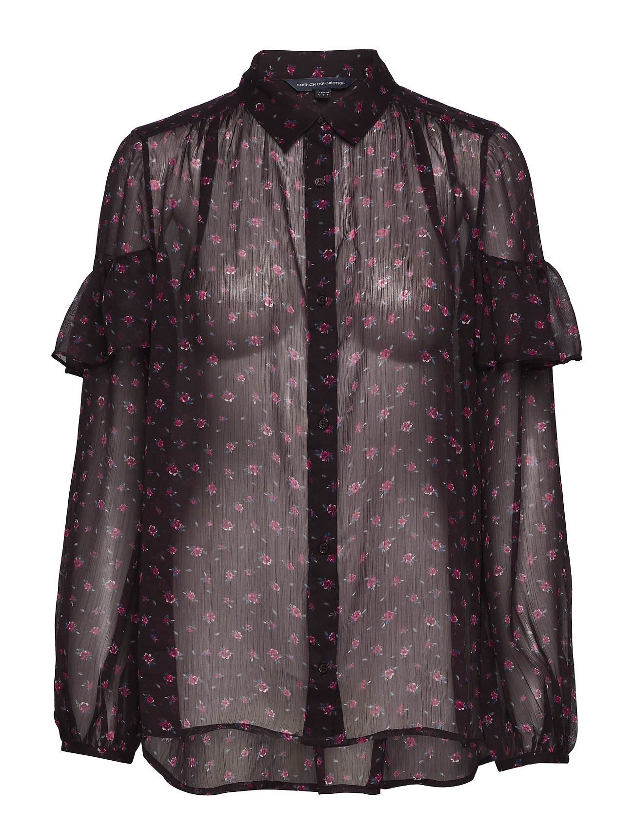 French Connection PF FLORENCE CRINKLE BLOUSE - BLACK GRAPE MULTI