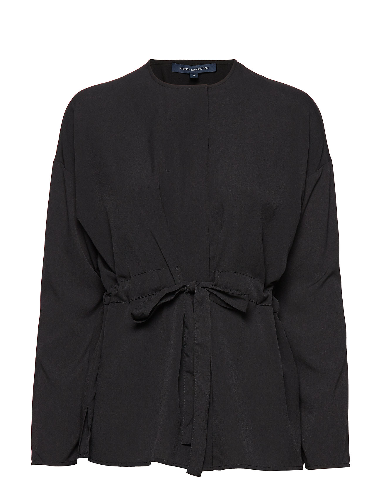 FRENCH CONNECTION Crepe Lght Sld Gathrd Waist Bl Bluse Langärmlig Schwarz FRENCH CONNECTION