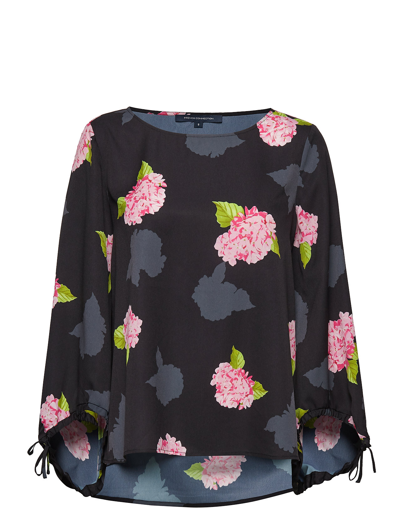 French Connection PUFF SLEEVE TOP - BLACK MULTI