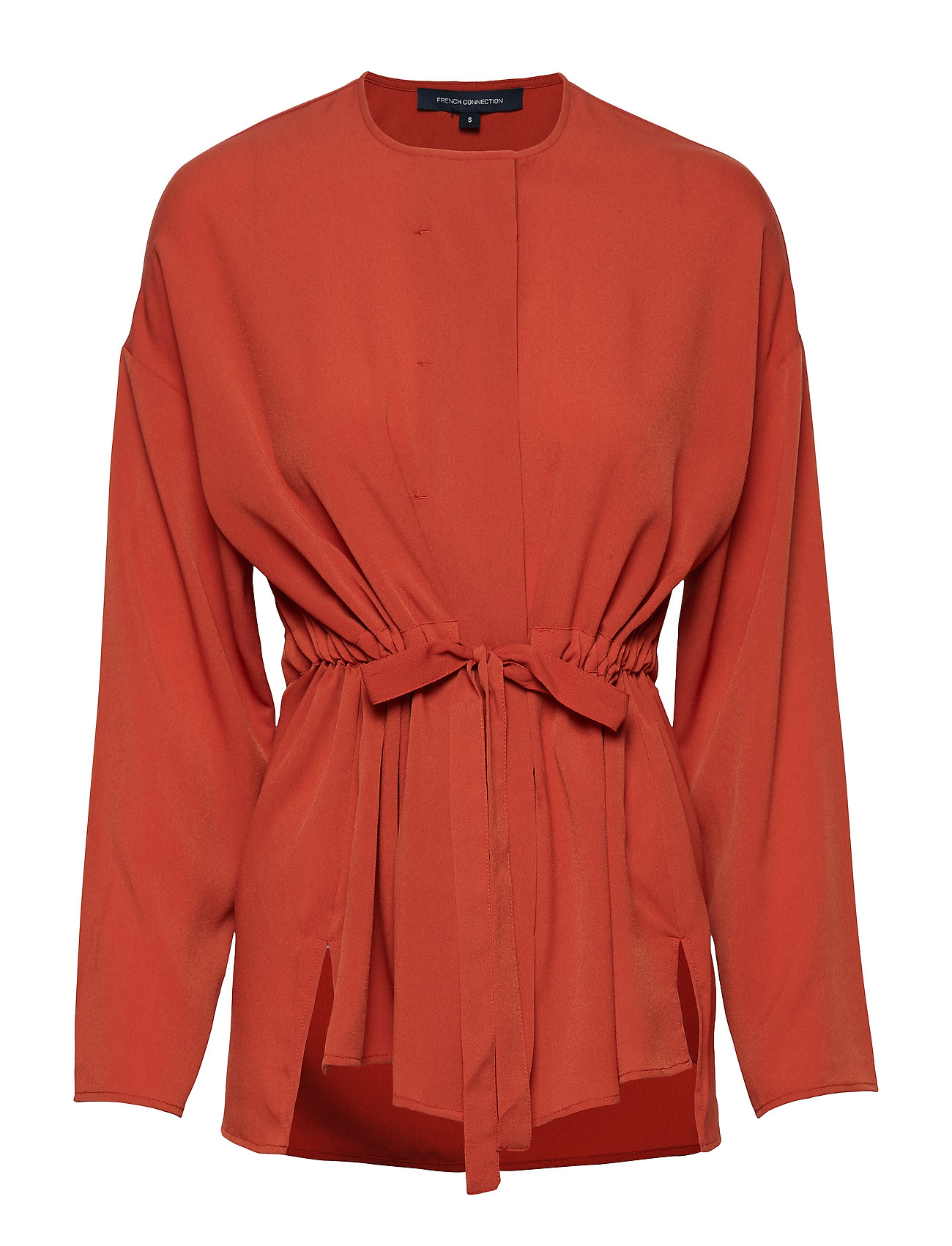 FRENCH CONNECTION Crepe Lght Sld Gathrd Waist Bl Bluse Langärmlig Orange FRENCH CONNECTION