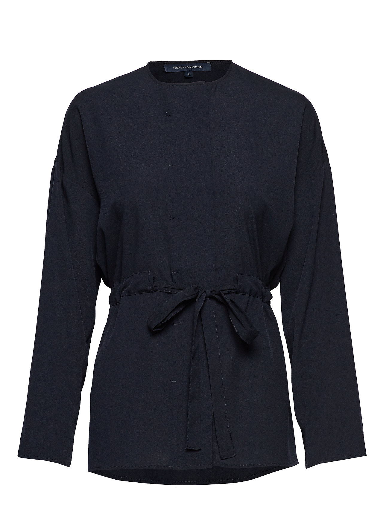 FRENCH CONNECTION Crepe Lght Sld Gathrd Waist Bl Bluse Langärmlig Blau FRENCH CONNECTION