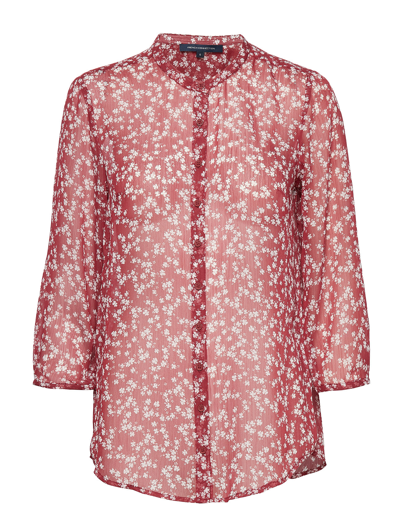 French Connection BRUNA CRINKLE COLLARLESS SHIRT - RHUBARB/CLASS CREAM