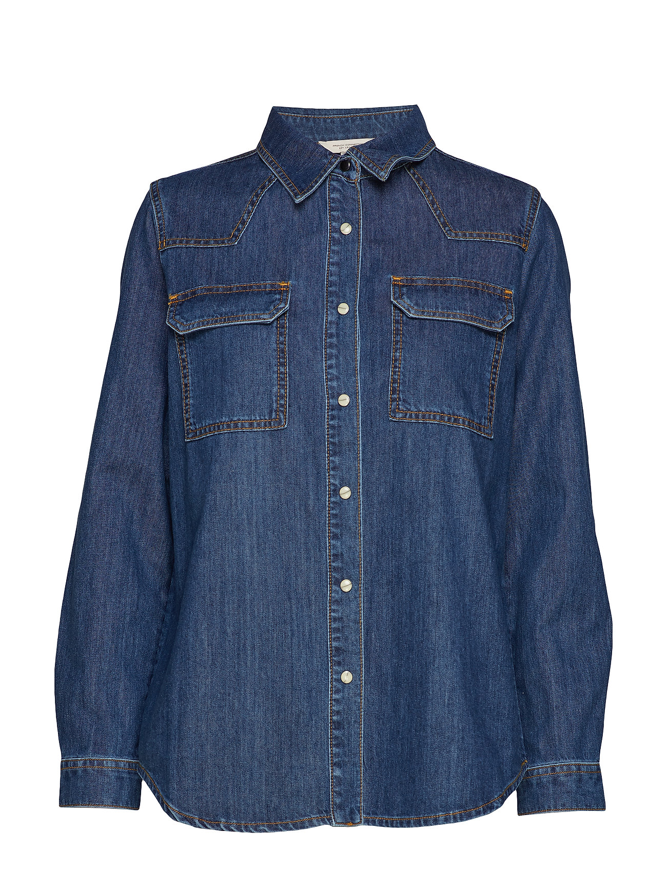FRENCH CONNECTION Marbilla Western Cotton Shirt Langärmliges Hemd Blau FRENCH CONNECTION