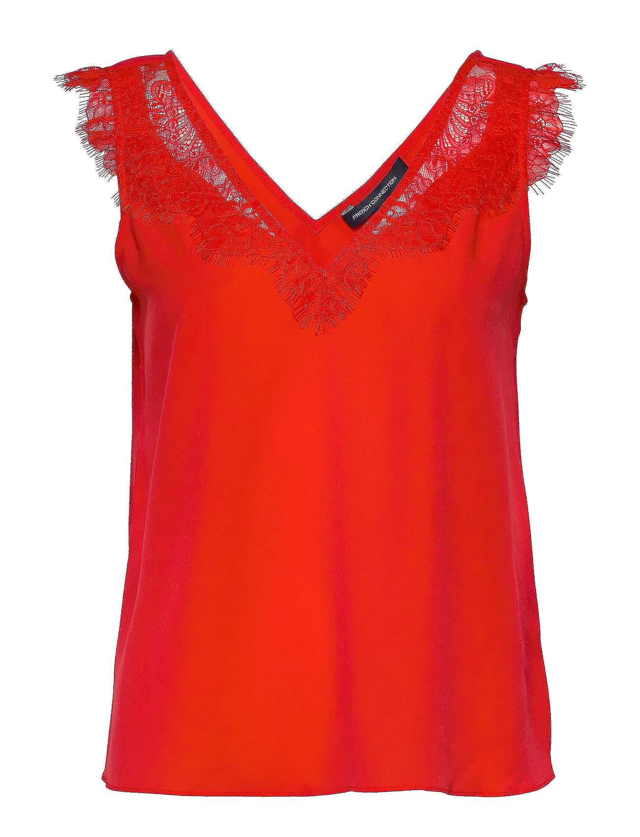 French Connection CHIOMA LIGHT LACE TOP - POPPY RED