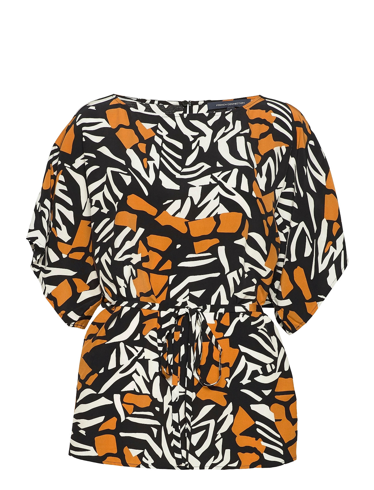 Image of Afara Drape Belted Top Blouses Short-sleeved Sort French Connection (3504038401)