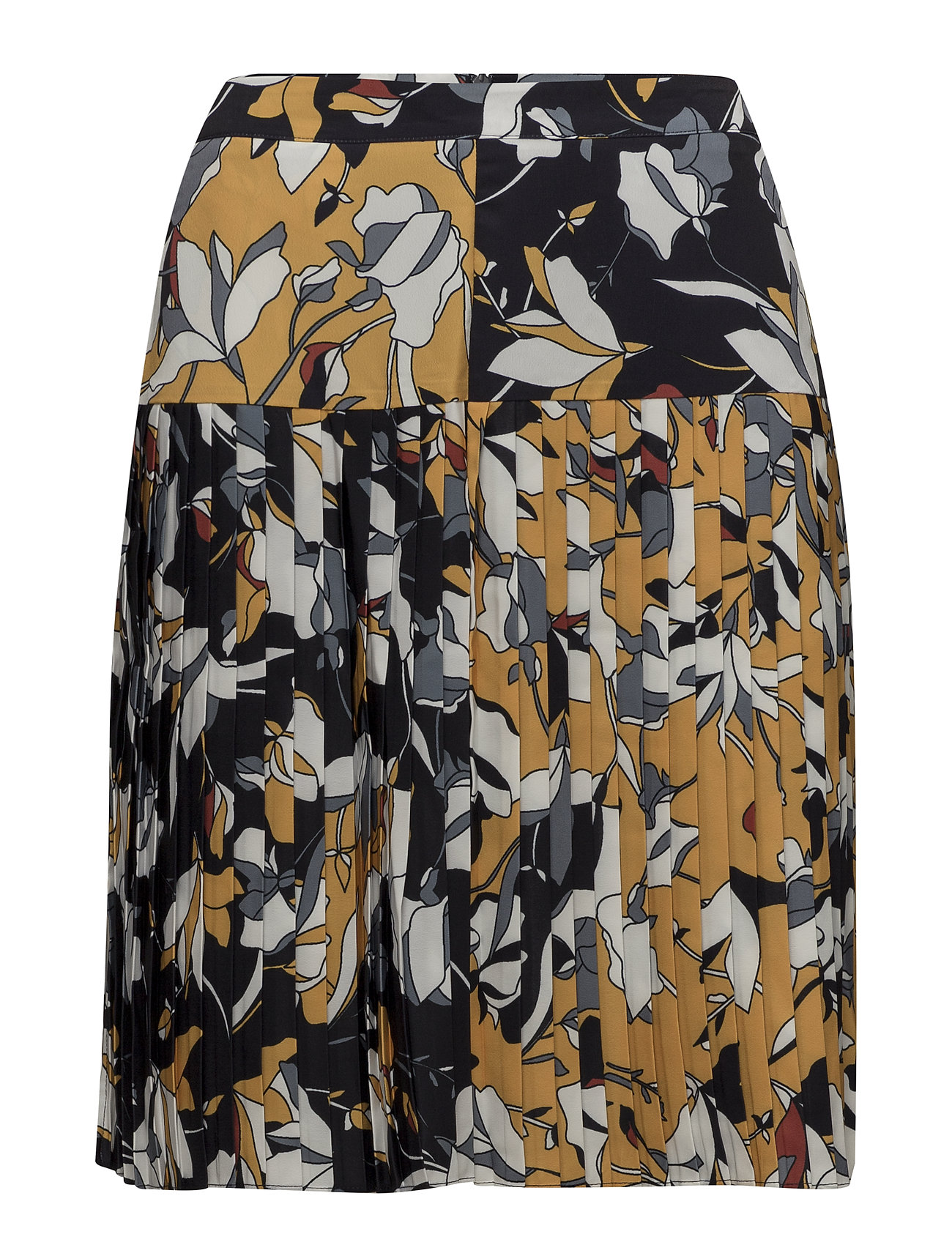 French Connection AVENTINE DRAPE PLEATED SKIRT - CALLUNA YELLOW MULTI