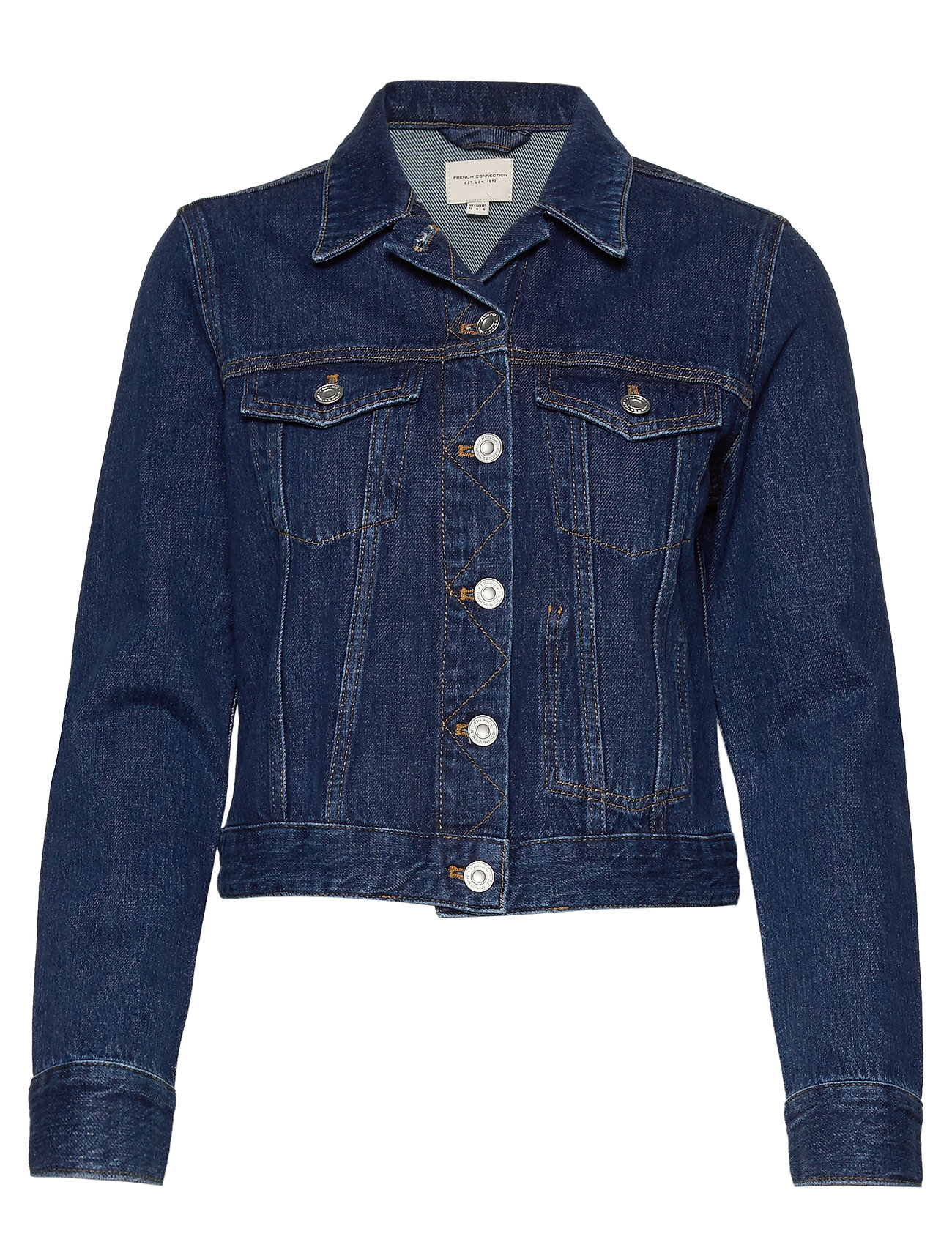 French Connection MACEE MICRO WSTRN DENIM LS JKT - MID BLUE