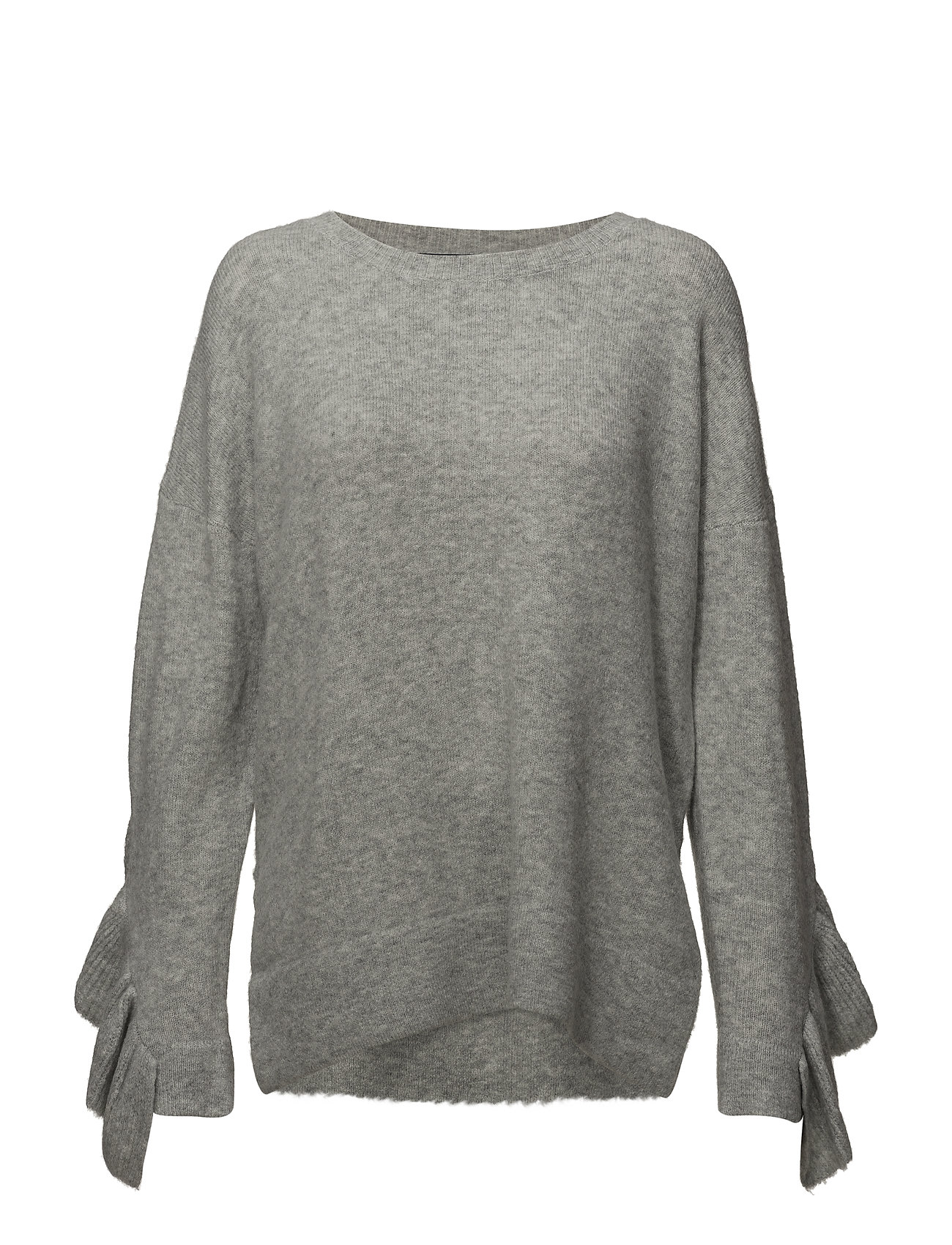 French Connection EMILDE KNITS LF FRILL JUMPER - LIGHT GREY MEL