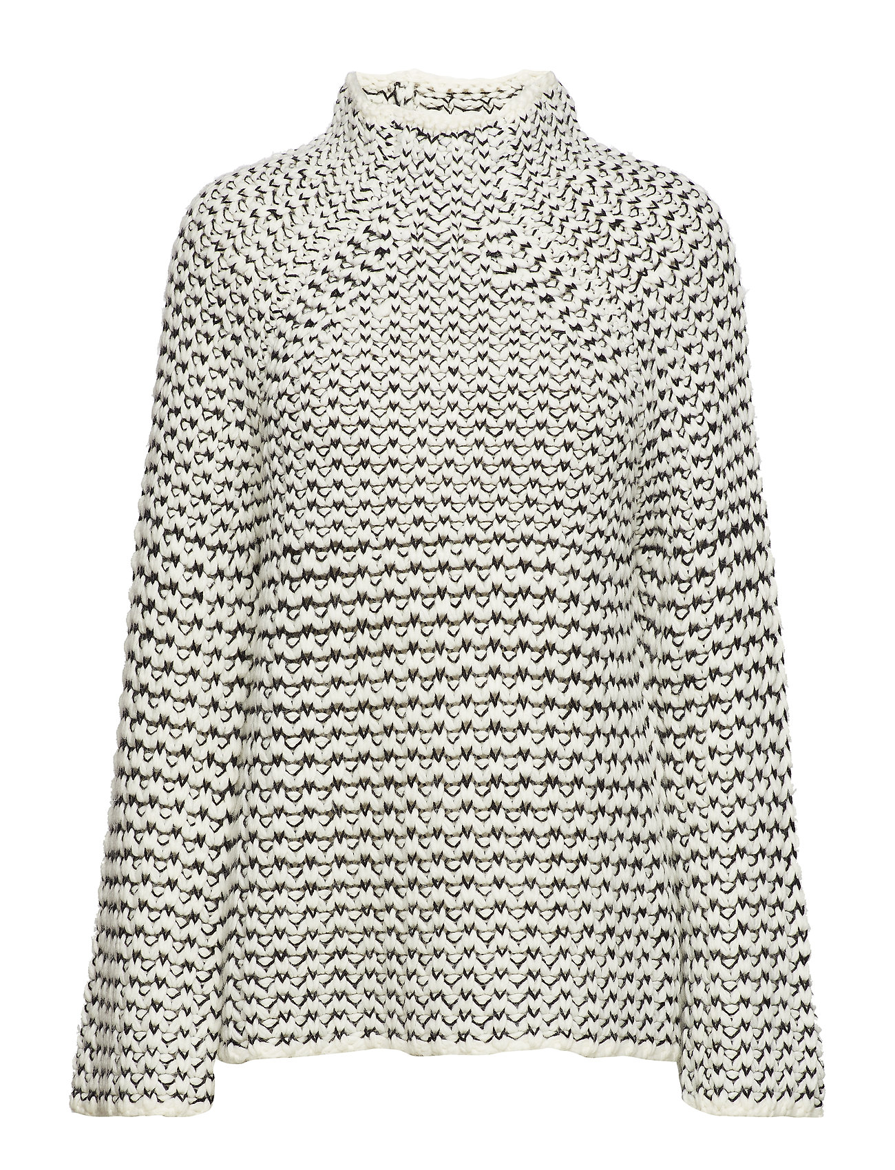 French Connection ZOE KNITS HIGH NCK TUNIC JMPR - WINTER WHITE/BLACK