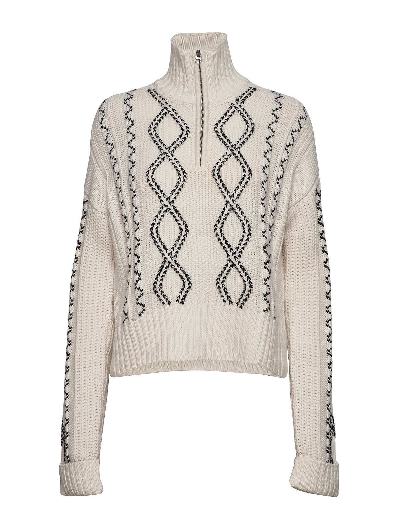 French Connection SUSA CABLE KNITS ZIP NECK JMPR - CLASSIC CREAM/BLACK