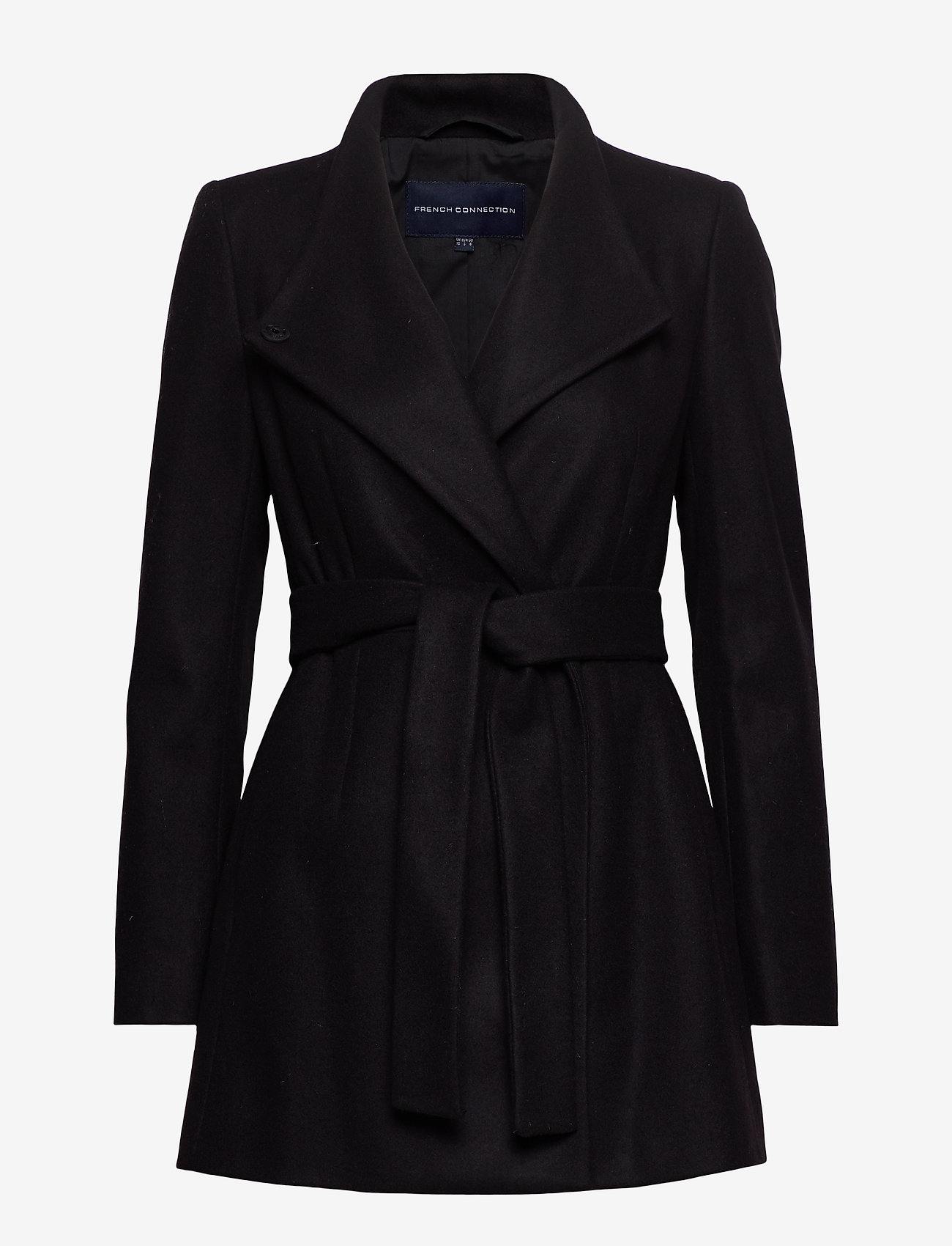 French Connection - FT PLATFORM FELT CROSSOVER COAT - wool jackets - black - 0