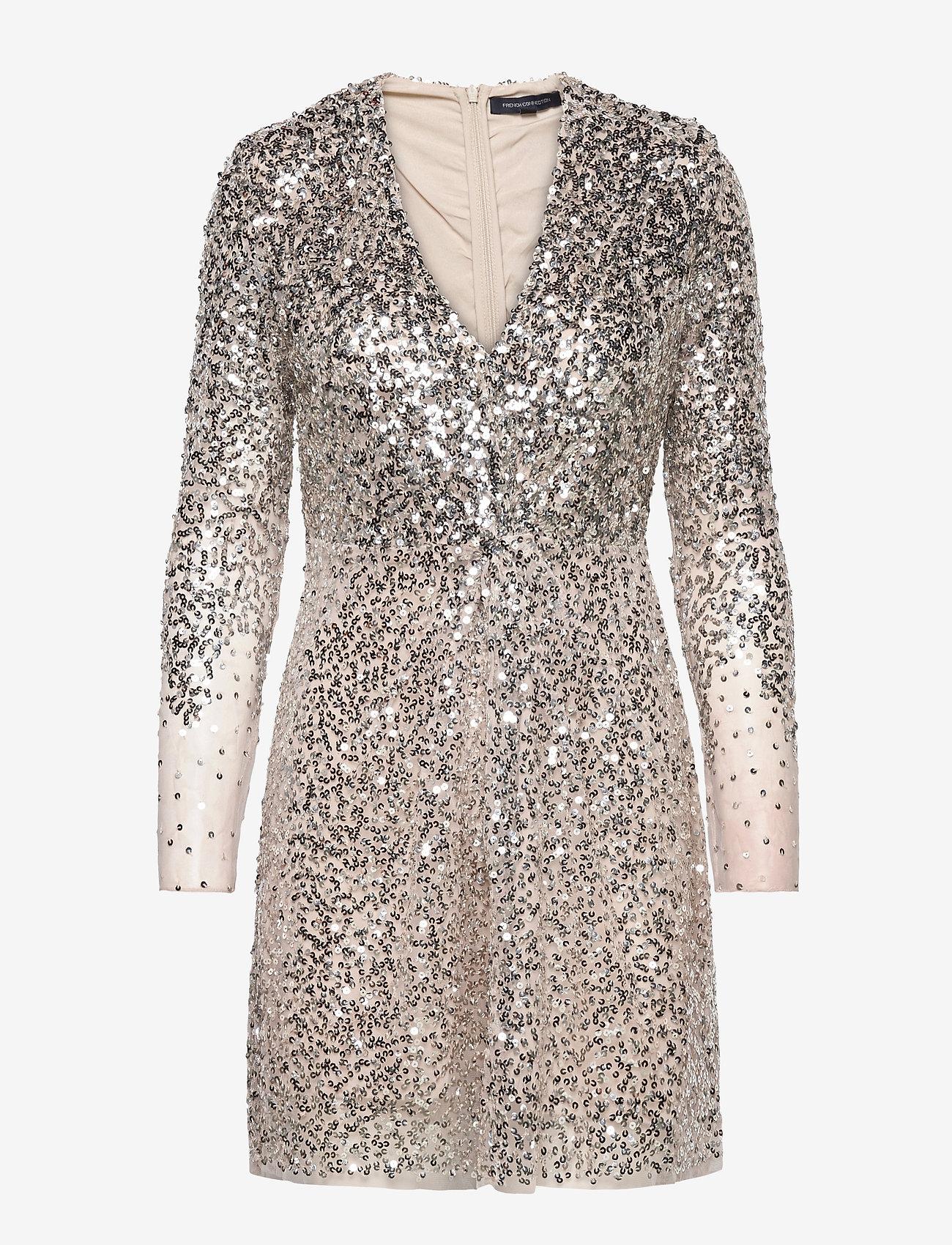 French Connection - EMILLE SPARKLE SHORT DRESS - paljettkjoler - silver/nude - 0