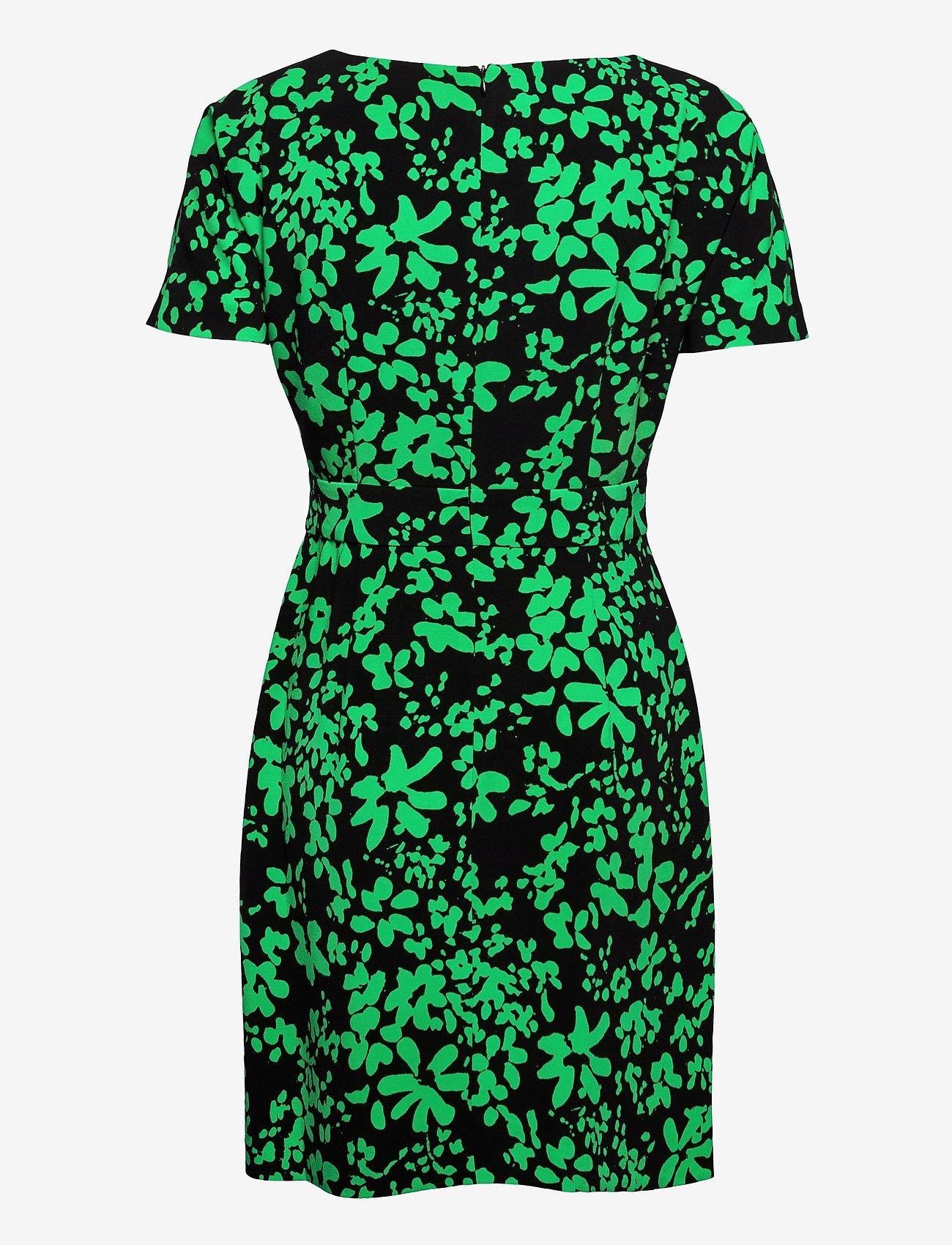 French Connection - FLOREY CREPE SHORT SLV DRESS - sommerkjoler - black/palm green - 1
