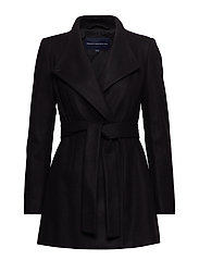 FT PLATFM FELT CROSSOVER COAT - BLACK
