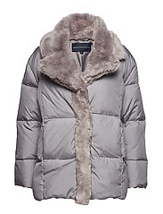 DEVON QUILT FUR TRIM WRAP COAT - DOVE GREY