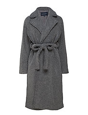 ARABELLA FAUX SHEARLING LNG CT - CHARCOAL GREY