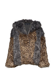 French Connection BLAIRE FAUX FUR HOODED COAT - MULTI