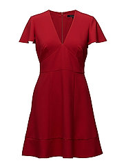 WHISPER RUTH SHORT SLEEVE V-NECK FLARED DRESS - BLAZER RED
