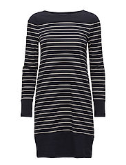 TIM TIM LONG SLEEVE ROUND NECK TUNIC DRESS - UTILITY BL/CLASS CRM