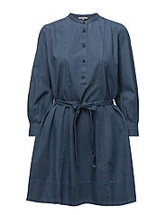 TIDORE CHAMBRAY LONG SLEEVED FLARED DRESS - BLEACH BLUE
