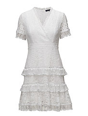 French Connection - Arta Lace Vnck Ruffle Dress