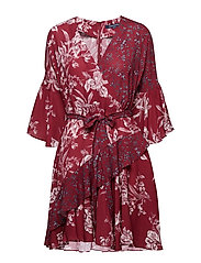 ELLETTE CREPE FRILL WRAP DRESS - DEEP FRAMBOISE MULTI