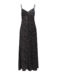 AUBINE FLUID MAXI SLIP DRESS - BLACK MULTI