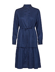 FLORETA DRAPE TIERED SHIRT DRESS - INDIGO