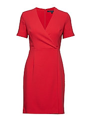 WHISPER RUTH SHORT SLEEVE WRAP DRESS - FIRE CORAL