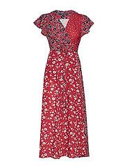ALIYAH CREPE V NECK WRAP DRESS - ROSSO RED MULTI