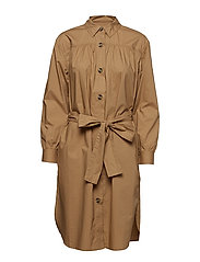 SOUTHSIDE COTTON BELTED SHIRT DRESS - WET SAND