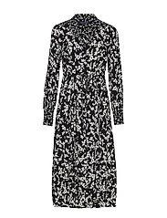 BRUNA LIGHT MIDI SHIRT DRESS - BLACK/CLASSIC CREAM
