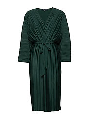 REGI PLEATED SLEEVED DRESS - DARK BAYOU GREEN