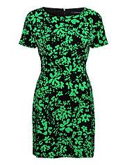 FLOREY CREPE SHORT SLV DRESS - BLACK/PALM GREEN
