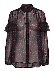 PF FLORENCE CRINKLE BLOUSE - BLACK GRAPE MULTI