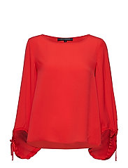 CREPE LIGHT SOLID PUFF SLEEVE BLOUSE - FIRE CORAL
